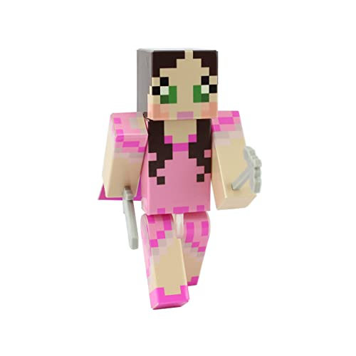 EnderToys Pink Dress Green Eyed Girl Action Figure Toy, 4 Inch Custom Series Figurines - Not an Official Minecraft Product