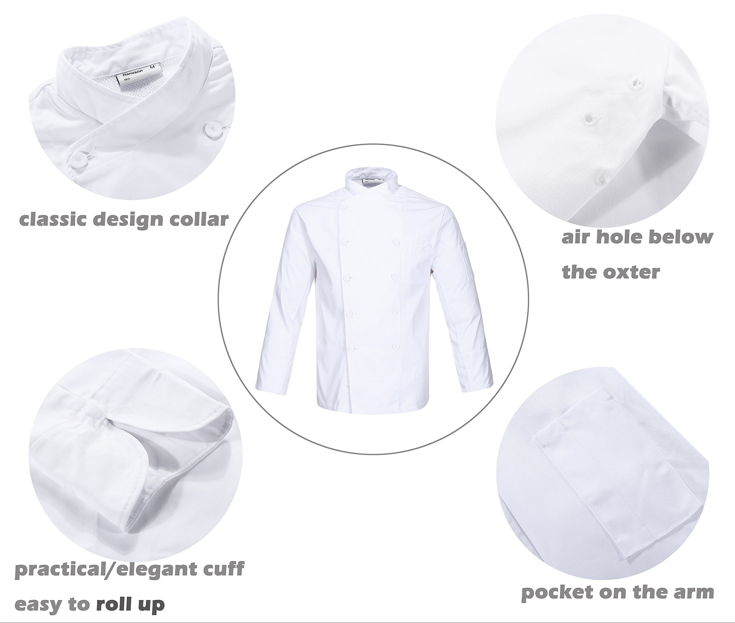 Nanxson(TM Kitchen Cotton Uniform Roll-up Sleeve Chef Working Coat with Air Mesh CFM0028 (White, L) by Nanxson (Image #2)