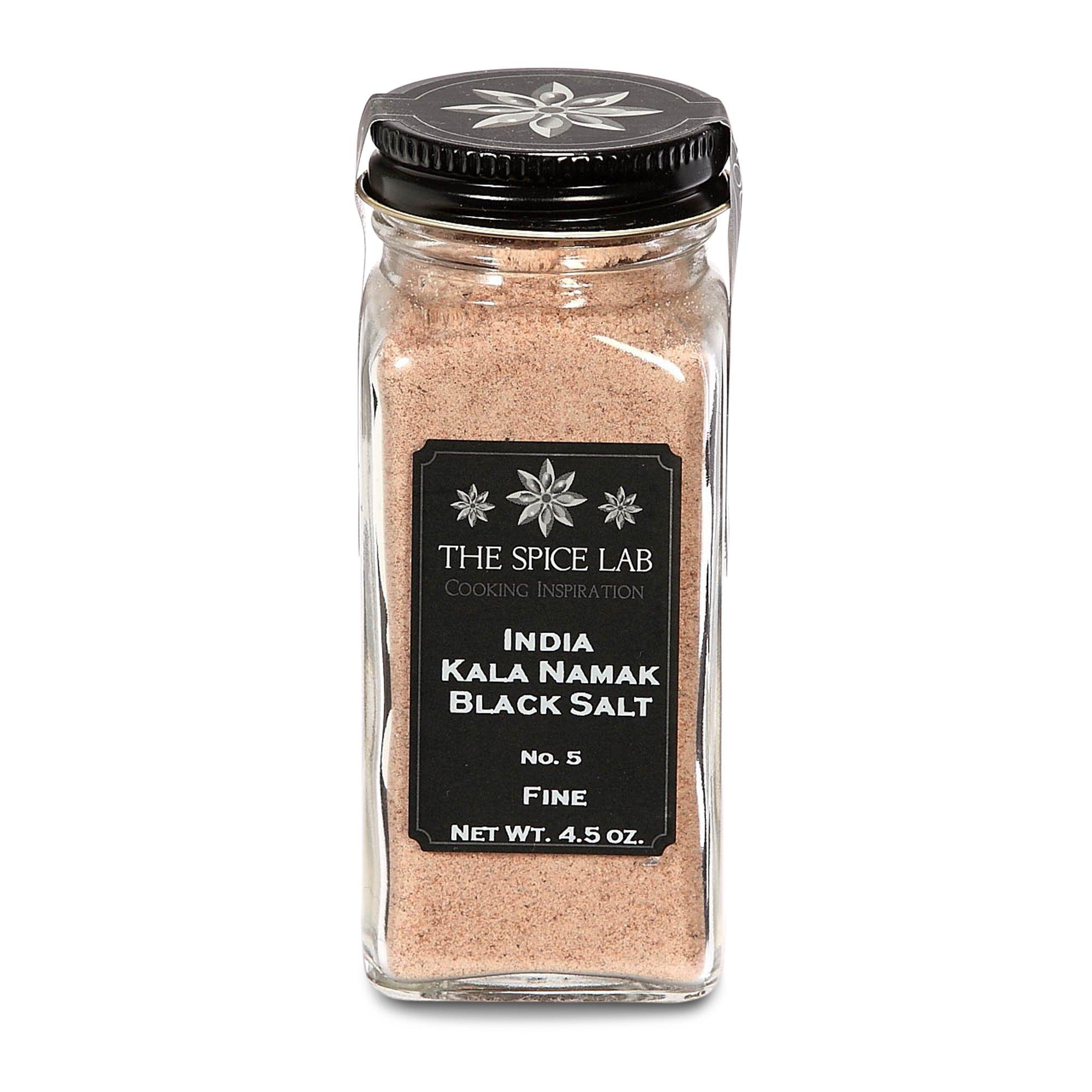 The Spice Lab Himalayan Black Crystal Indian Salt - Kala Namak Mineral - Fine Ground - French Jar