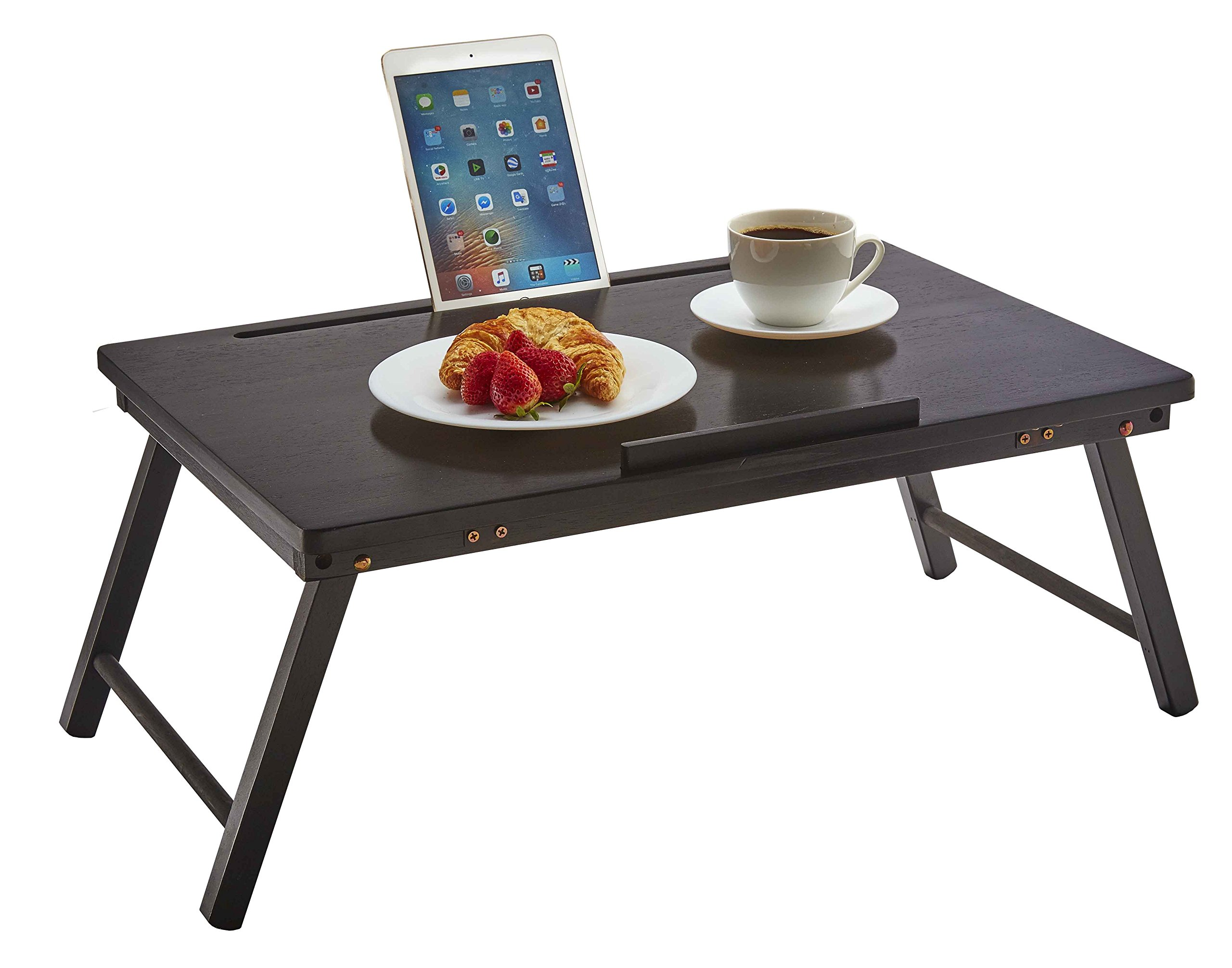 PJ Wood Foldable Laptop Desk and Bed Tray Table - Black