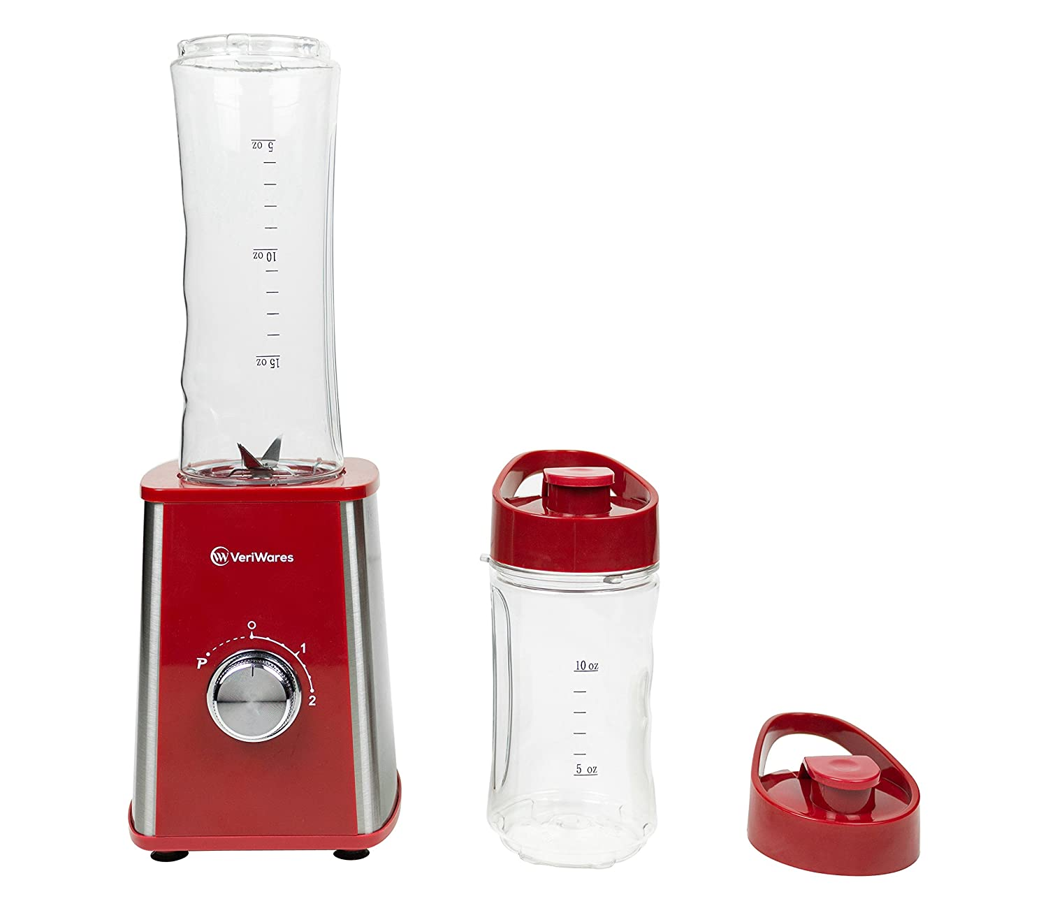 Personal Blender for Shakes – Portable 2-Speed Motor and 3 Blades Good for Travel – Practical and Compact Design Smoothie Maker – 2 Leak-Proof BPA-Free Bottles with Oz Marks (Red)