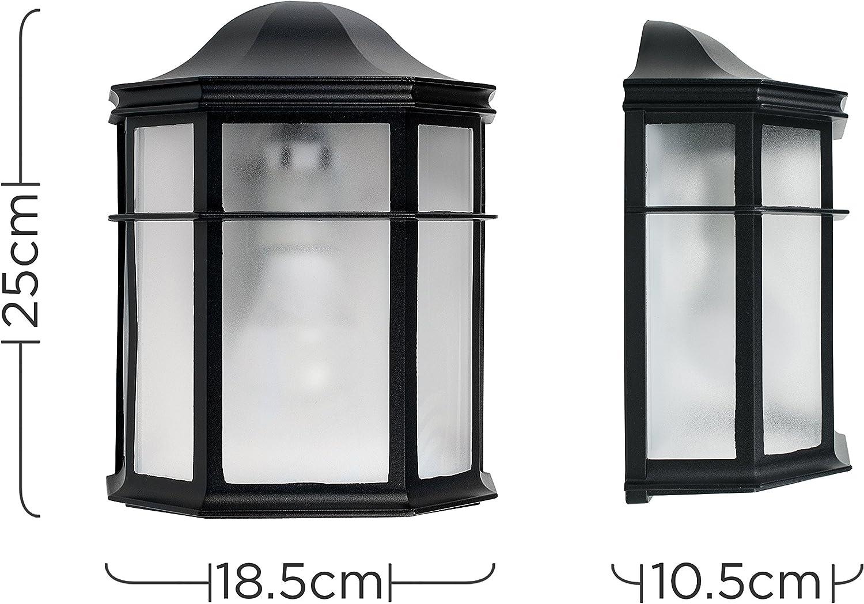 S/écurit/é Ext/érieure IP44 Lanterne pour l/'extérieur MiniSun Nook Lanterne Murale Traditionnel Sécurité Extérieure IP44 Aluminium Noir et Verre Givré Aluminium Noir et Verre Givr/é Lanterne pour lext/érieur