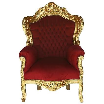 Sillón trono oscuro rojo y dorado barroco antiguo sillón de ...