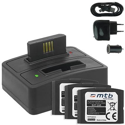 4x Baterías + Cargador doble (USB/Coche/Corriente) BA-300 para Sennheiser RI 410 (IS 410), RI 830 (Set 830 TV), RI 830-S, RI 840 (Set 840 TV), RI 900, ...