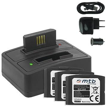 4x Baterías + Cargador doble (USB/Coche/Corriente) BA-300 para