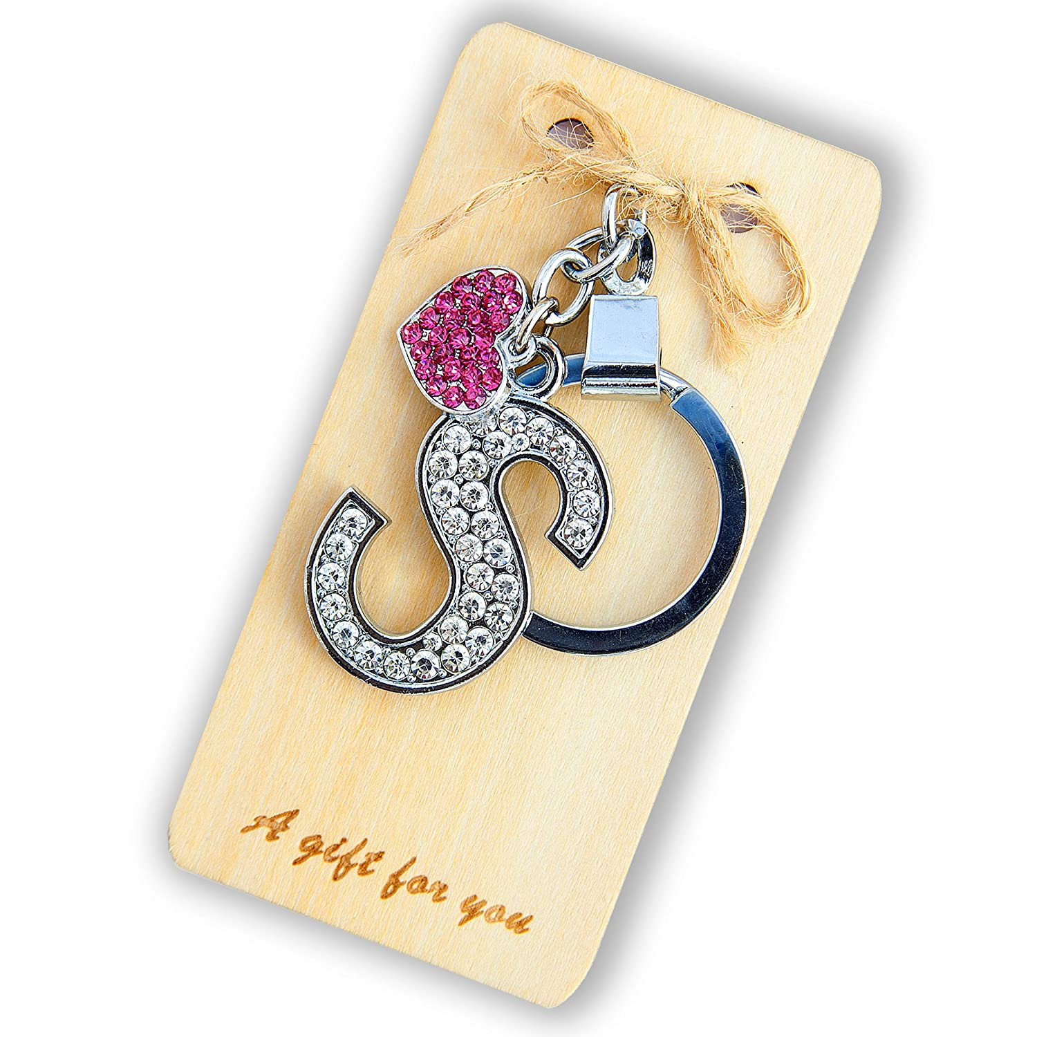 Libbys Market Place Rhinestoned and Personalised Letter R Wine Glass Charm with Gift Card by From UK Seller