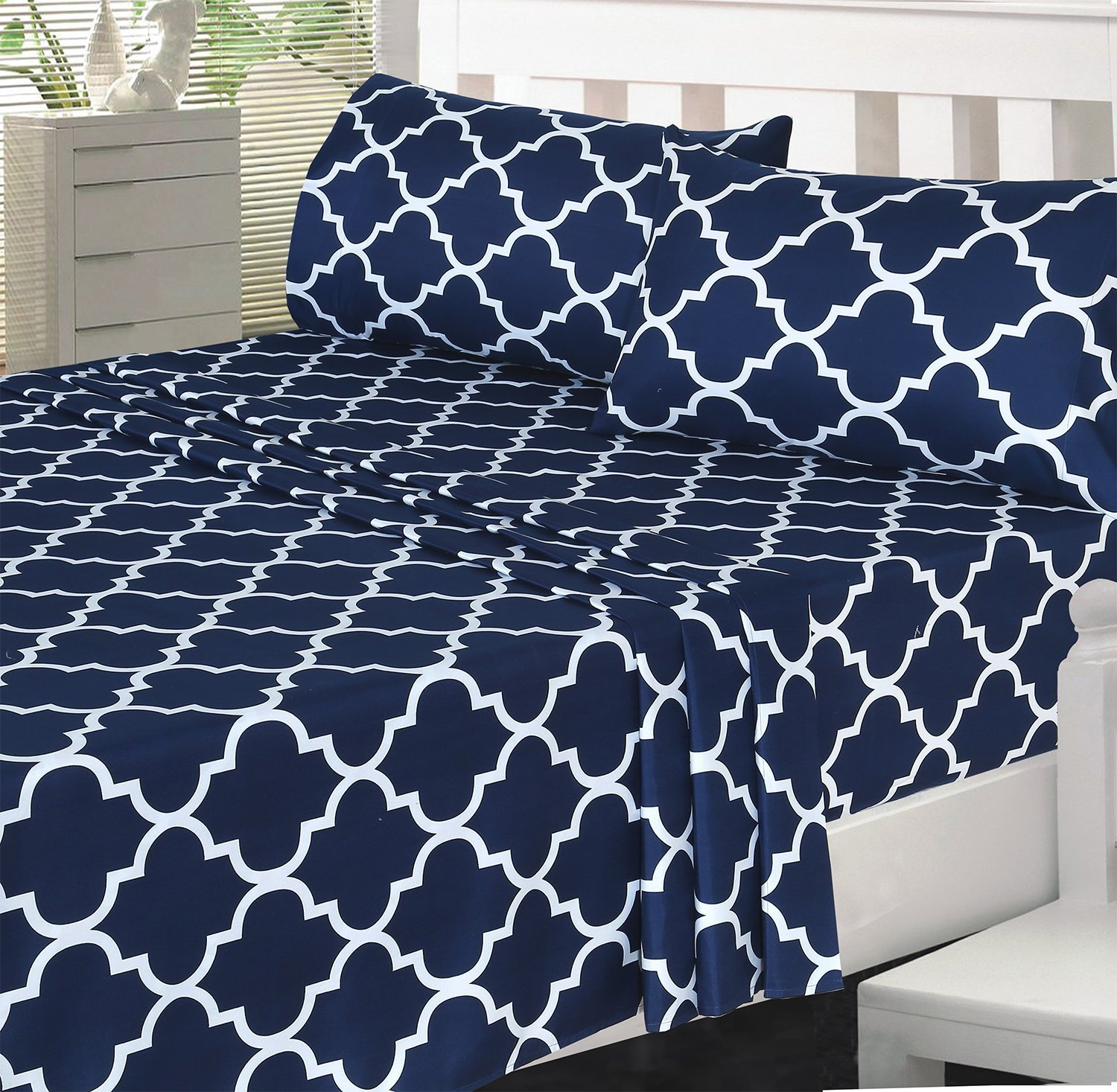 Utopia Bedding 3 Piece Bed Sheets Set (Twin, Navy) - 1 Flat Sheet 1 Fitted Sheet and 1 Pillow Case - Hotel Quality Brushed Velvety Microfiber - Luxurious & Extremely Durable by Utopia Bedding (Image #5)