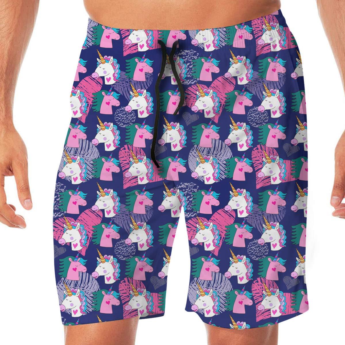 Mens Unicorn and Star Pattern Boardshorts Swimming Shorts No Mesh Lining