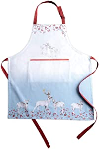 """Maison d' Hermine Fairytale Forest 100% Cotton 1 Piece Kitchen Apron with an Adjustable Neck & Hidden Centre Pocket with Long Ties for Women   Men   Chef   Thanksgiving/Christmas (27.50""""x31.50"""")"""
