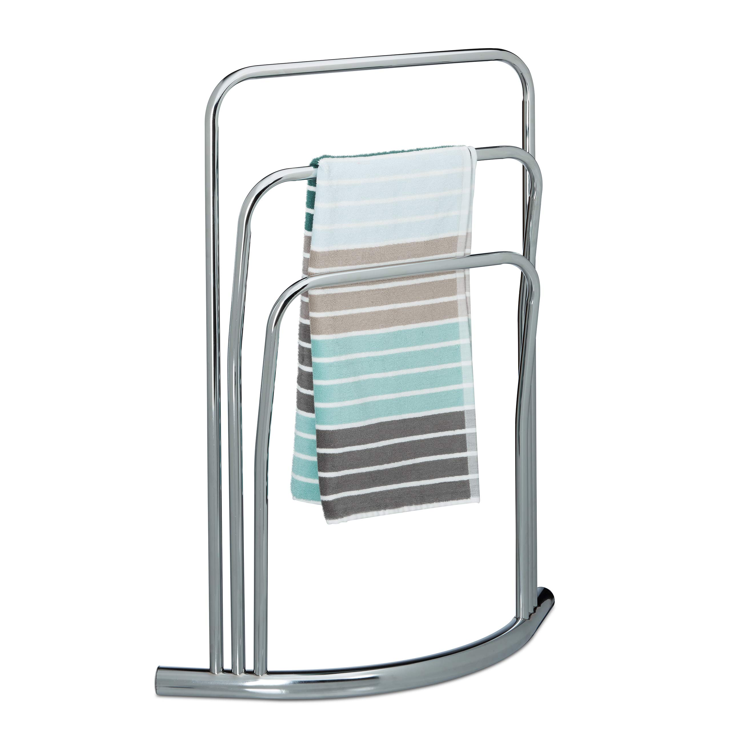 Relaxdays CURVY 3 Rails, Size: 85 x 66 x 20 cm Free Rack Towel Holder made of Metal in Stainless Steel Look as Bathroom Stand, Silver, 20 x 66 x 85 cm