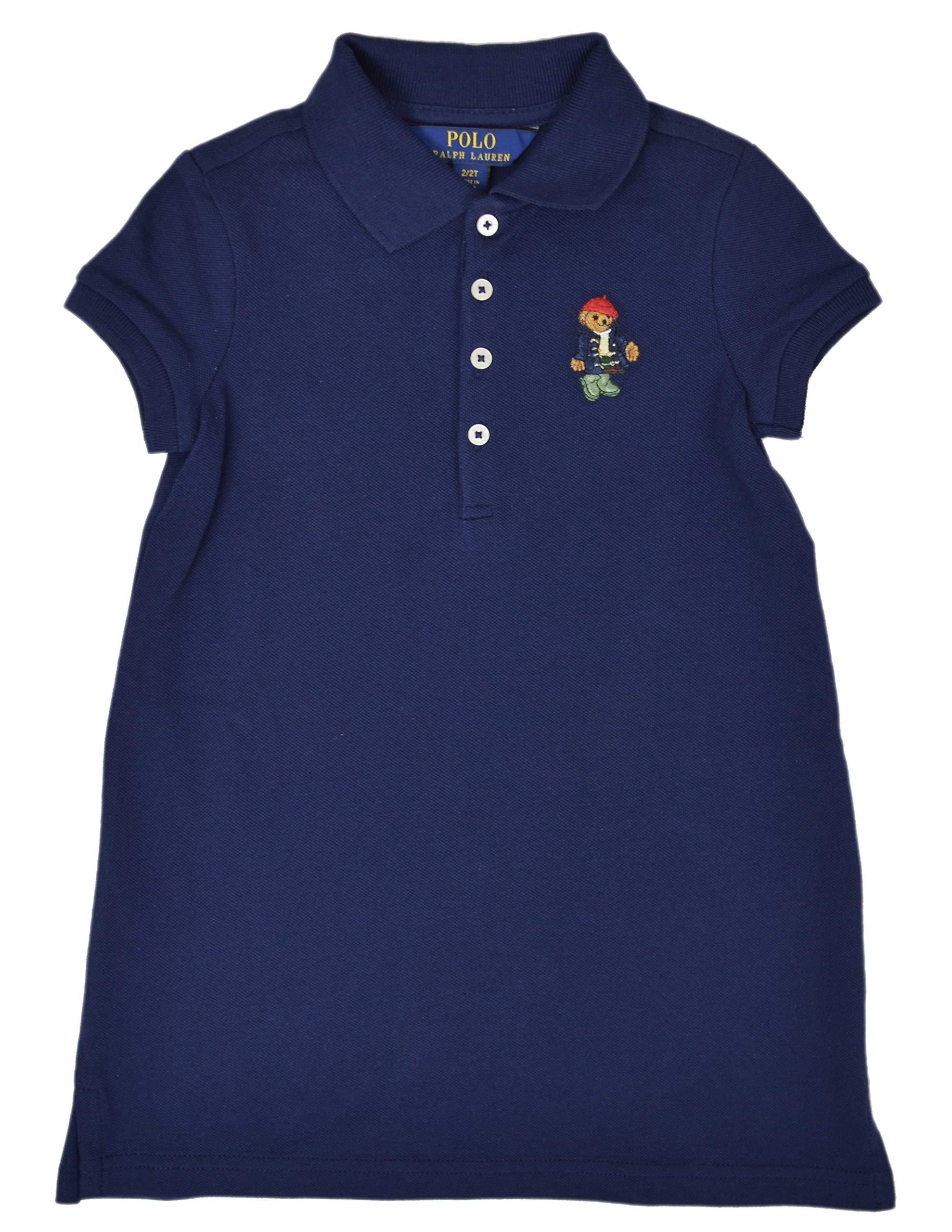 Polo Ralph Lauren Girl's Mesh Bear Logo Polo Shirt Short Sleeves, Navy (2/2T) (2/2T) by Polo Ralph Lauren (Image #1)