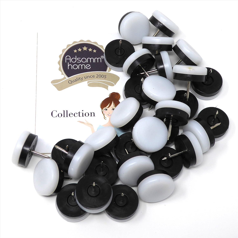 Patas de muebles con clavo y goma de la m/áxima calidad de Adsamm/® blanco /Ø 25 mm redondas 32 x Deslizante de pl/ástico con clavo y goma