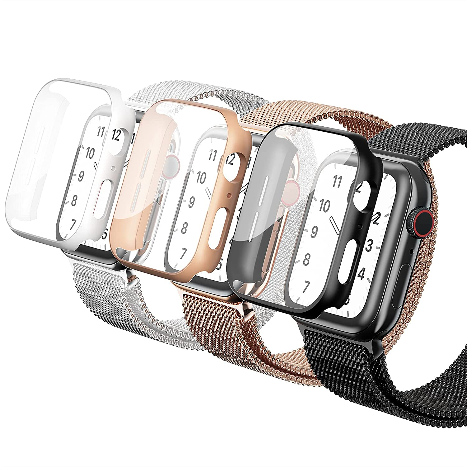 Metal Iwatch Band with Case Compatible for Apple Watch Band 38mm 40mm 42mm 44mm, Screen Protector Protector Magnetic Stainless Steel Mesh Replacement Starp Wristbands For Iwatch Series 6/5/4/3/2/1/SE
