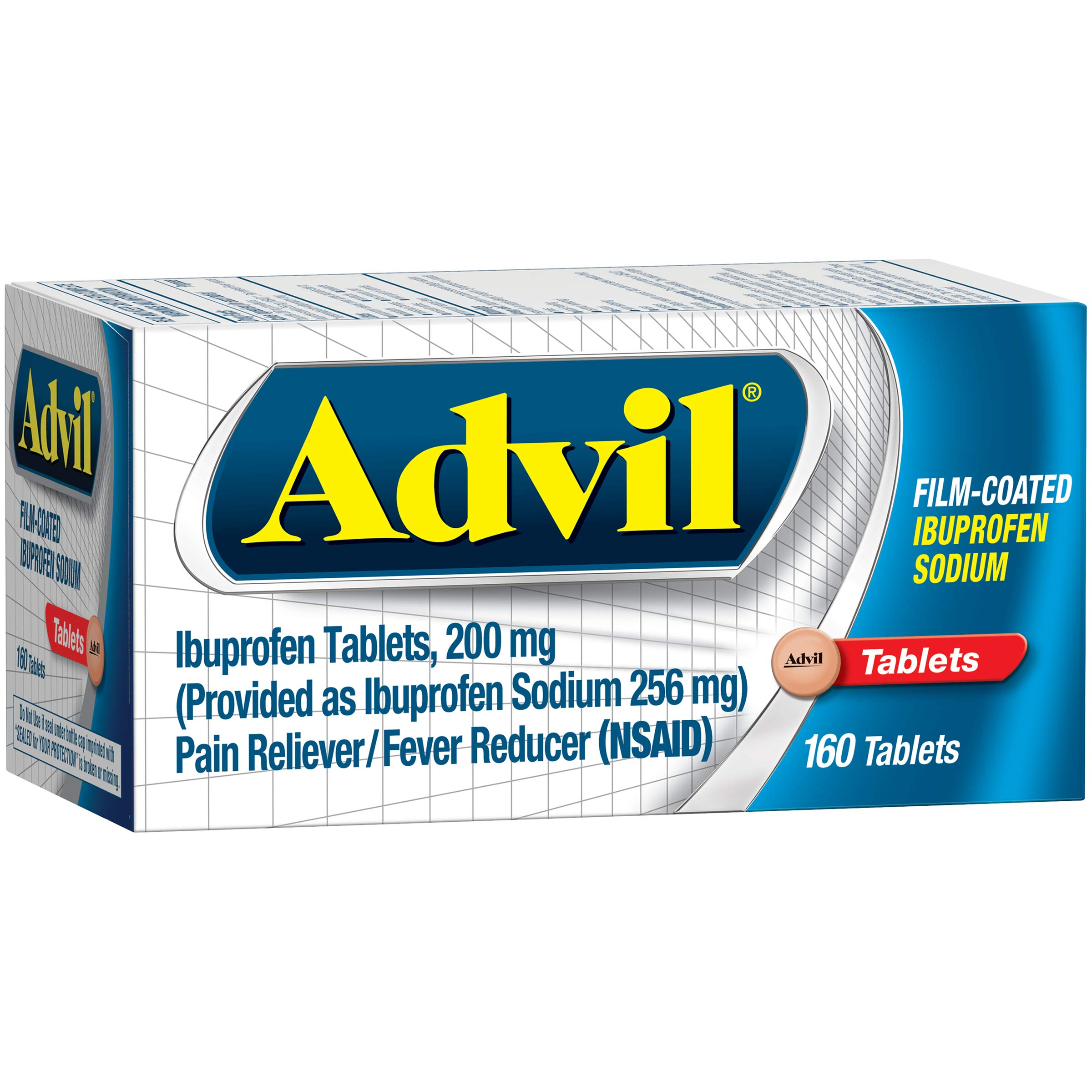 Advil (160 Count) Pain Reliever/Fever Reducer Film Coated Caplet, 200mg Ibuprofen, Rapid Release Formula, Temporary Pain Relief (Pack of 3) by Advil