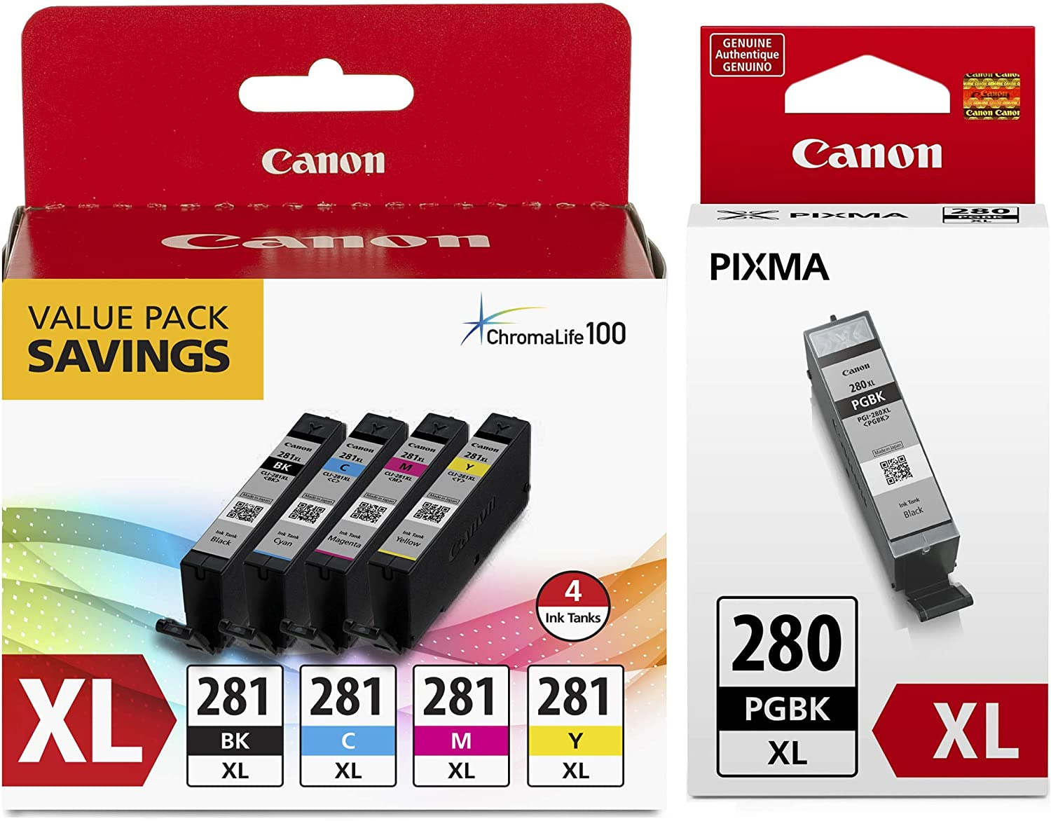 Canon CLI-281 XL BKCMY 4-Color Ink Tank Value Pack (2037C005) and Canon PGI-280 XL Pigment Black Ink Tank (2021C001)