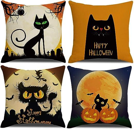 Halloween Dog Cat Print Cushion Cover Cotton Linen Pillow Case Home Decoration