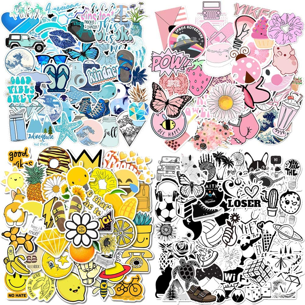 200PCS VSCO Mixed Stickers for Water Bottles,Colorful Laptop Stickers Durable Aesthetic Waterproof Stickers for Hydro Flask Laptop Computer Phone