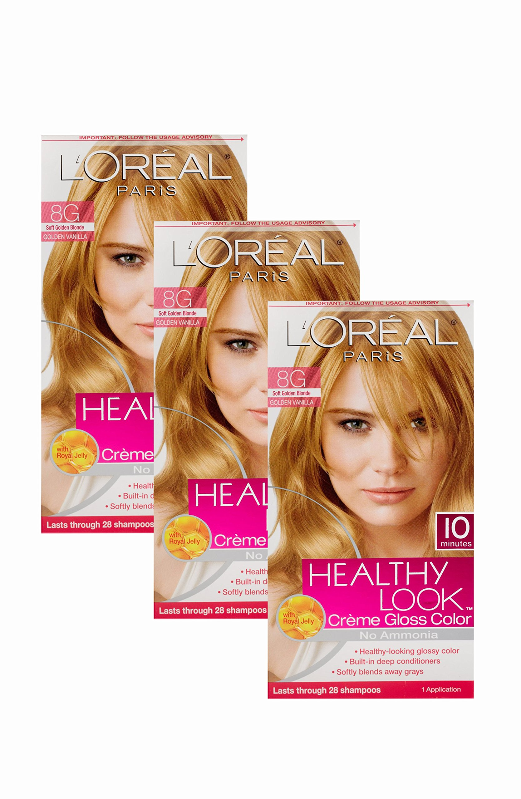 L'oreal Paris Healthy Look Crème Gloss- Soft Golden Blonde 8g (Pack of 3)