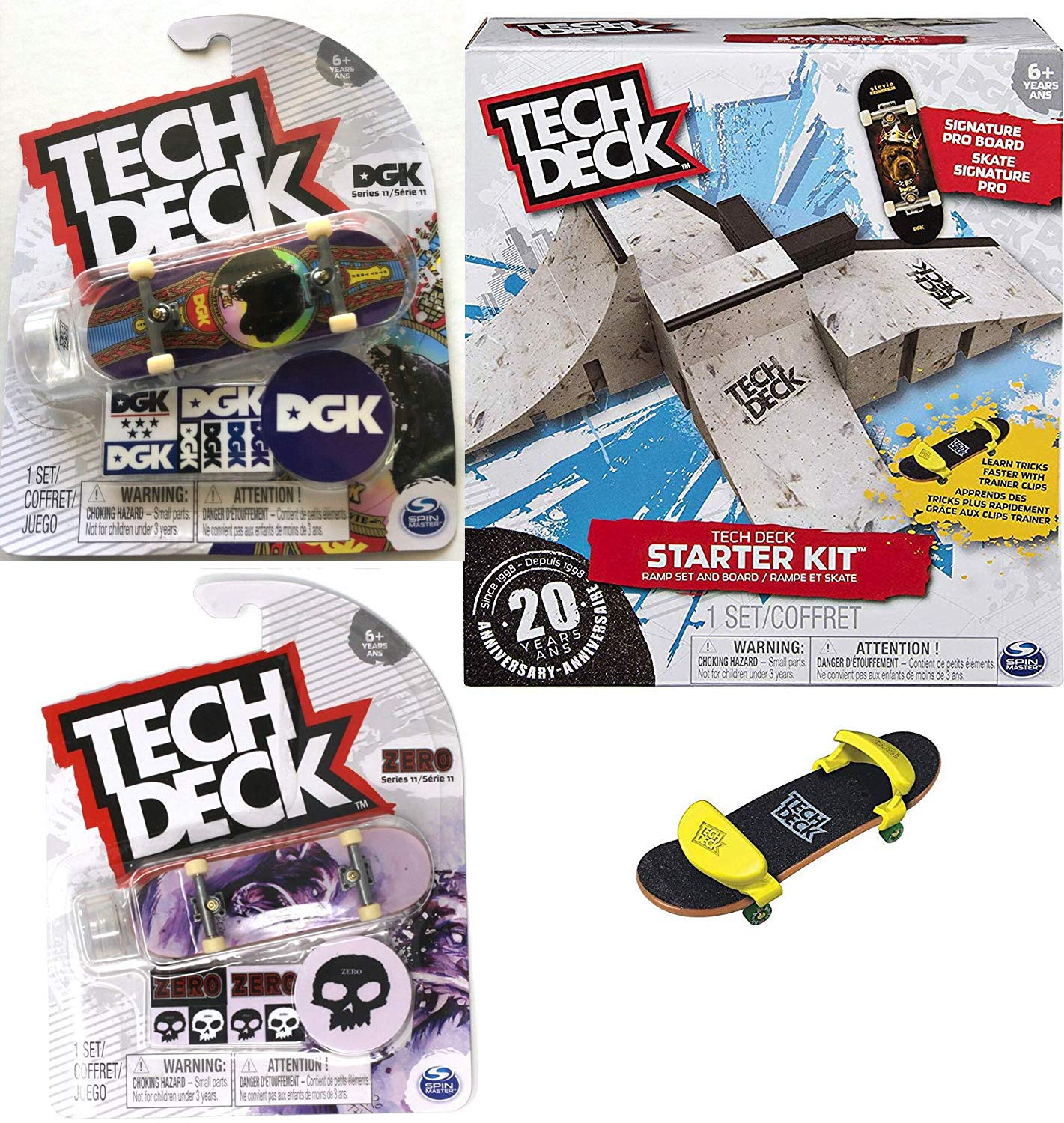 TECH DECK Ramps Series Board Set Skateboard Stunt Fingerboard Pack Bundled with Rare Graphics + Logo & Rad Skater Decals Designs 3 Items by TECH DECK