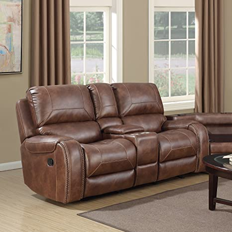 Incredible Roundhill Furniture Achern Brown Leather Air Nailhead Manual Reclining Loveseat With Storage Console Unemploymentrelief Wooden Chair Designs For Living Room Unemploymentrelieforg