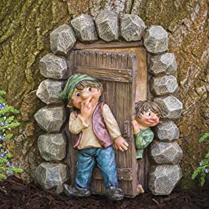 Bits and Pieces - Elf Hide and Seek Garden Sculpture - Whimsical Tree Sculpture Garden Decoration