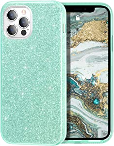 MILPROX Compatible with iPhone 12 Case and iPhone 12 Pro Cases (2020), Bling Sparkly Glitter Shiny Spark Gel Shell Case -Green
