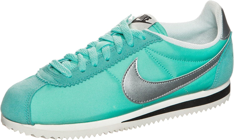 Nike Classic Cortez Nylon Premium Zapatillas de Deporte para Mujer, Azul Turquesa/Plateado: Amazon.es: Deportes y aire libre