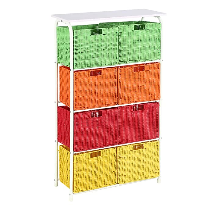 Amazon.com: HOME BI 8 Storage Drawer Tower, 4 Tier Metal ...