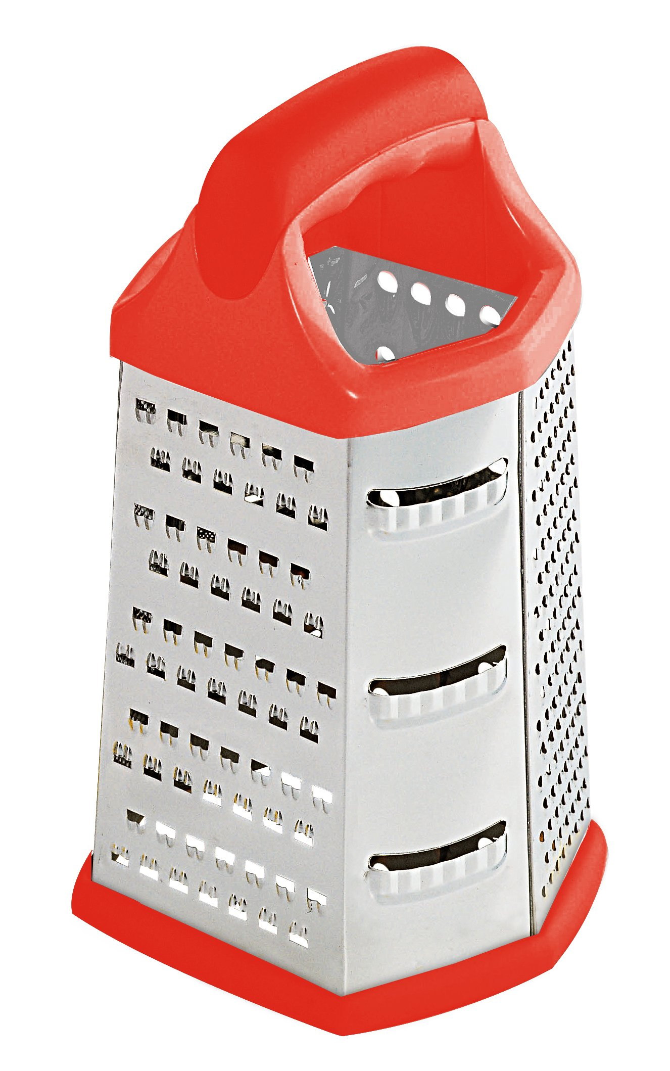 Home Basics 6 Sided Cheese Grater, Red