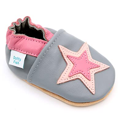 a1ffe0c298136d Dotty Fish Soft Leather Baby Shoes. Toddler Shoes. Non Slip. Soft Grey Shoe
