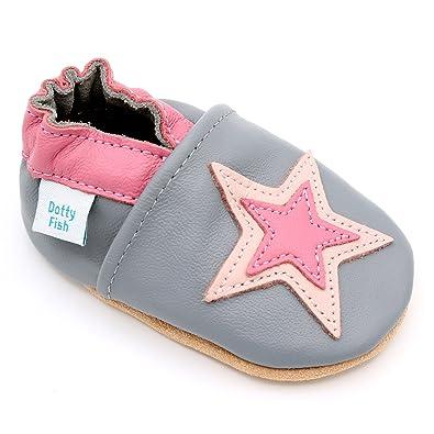 2b43cf6915feb6 Dotty Fish Weiche Babys und Kleinkinder Lederschuhe. Graue und rosa Sterne.  0-6