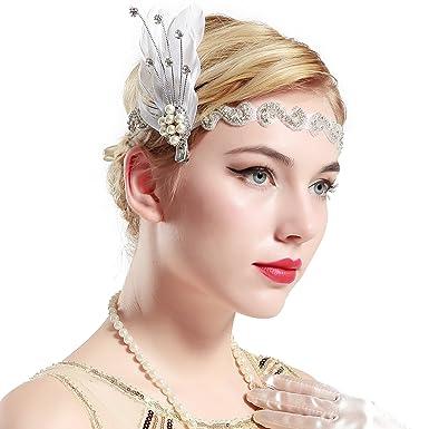 heißes Produkt immer beliebt feinste Auswahl ArtiDeco 1920s Feder Stirnband 20er Jahre Stil Art Deco ...