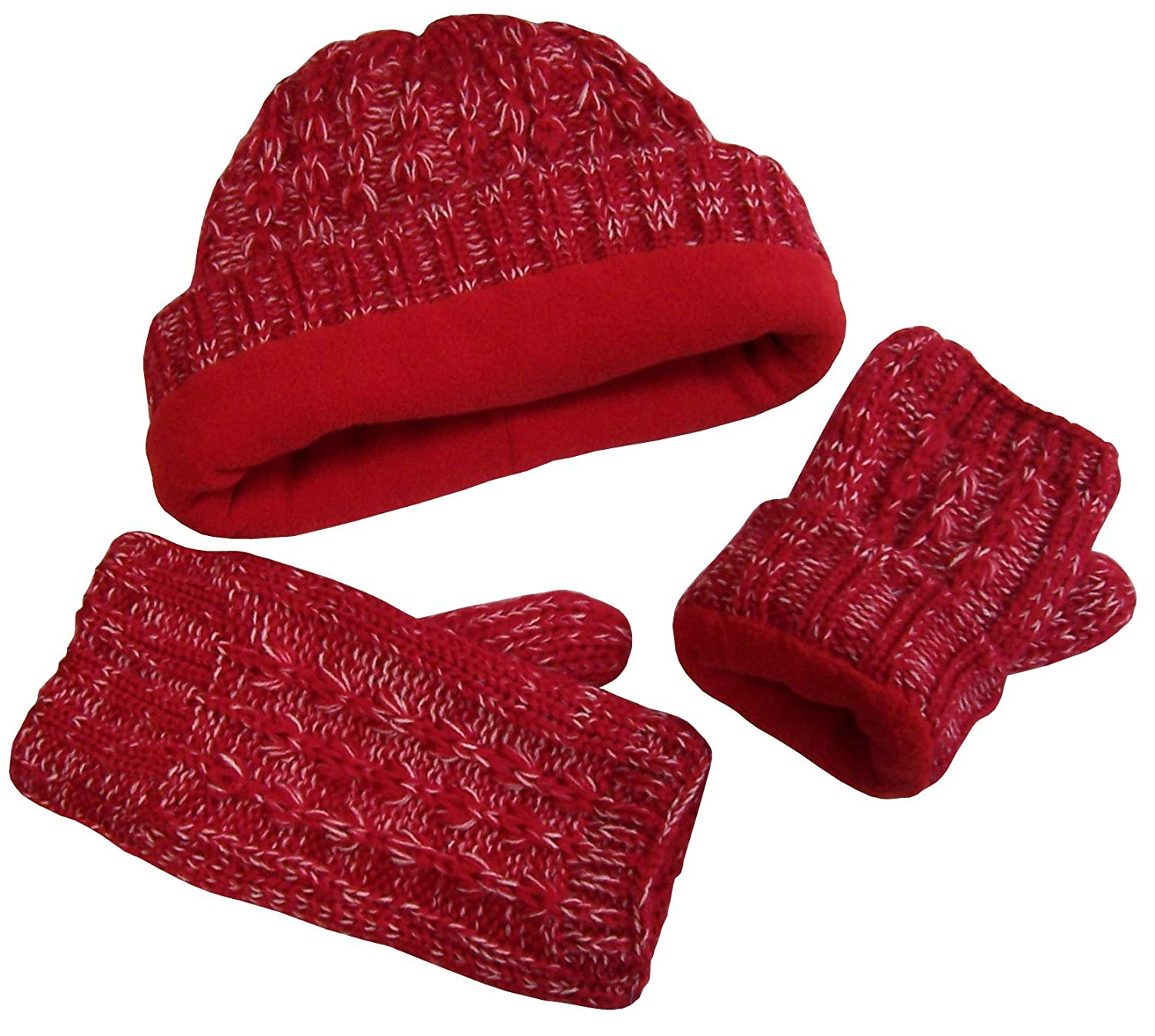 NIce Caps Girls Heather Yarn Cable Knit Fleece Lined Hat and Fingerless Open Glove Set
