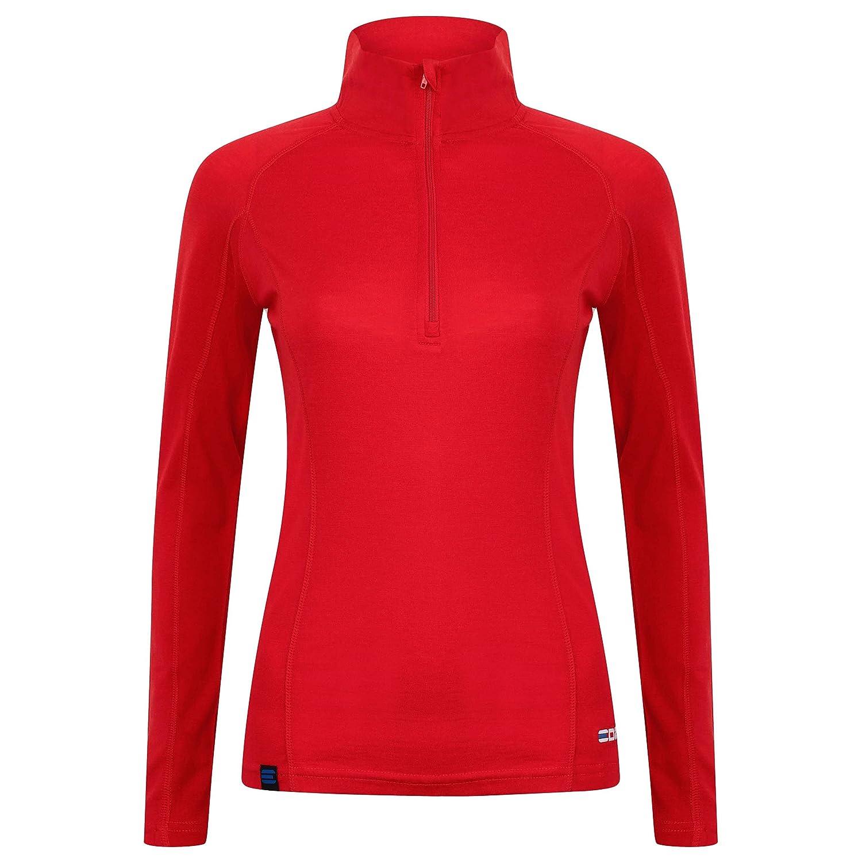 EDZ Merino Wool Womens Zip Neck Base Layer Top Red EDZ052240