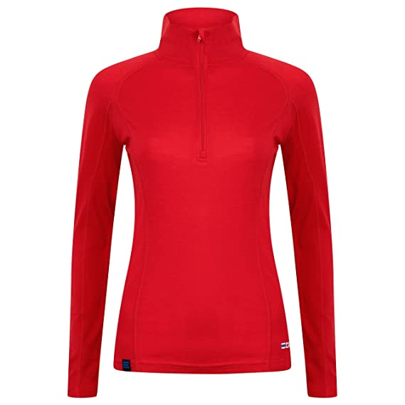 9d65907babaa4 EDZ Merino Wool Womens Zip Neck Base Layer Top Red: Amazon.co.uk: Clothing