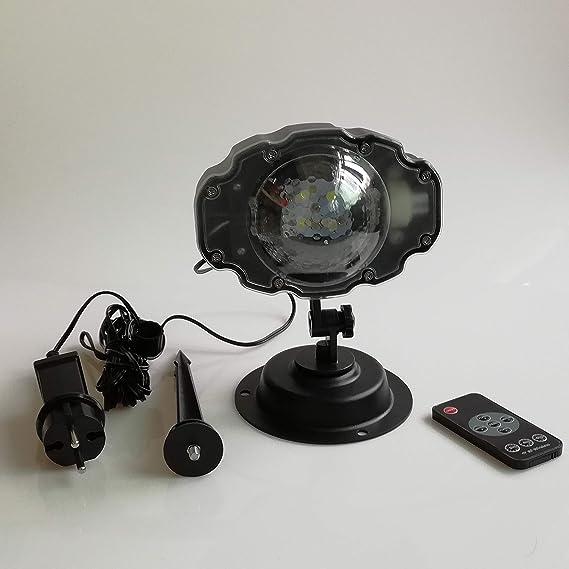 29ef7d7eb0f hangang Proyector de exterior con luces de LED de cascada paisaje nevado  con mando a distancia inalámbrico para decoración Navidad de jardín   Amazon.es  ...