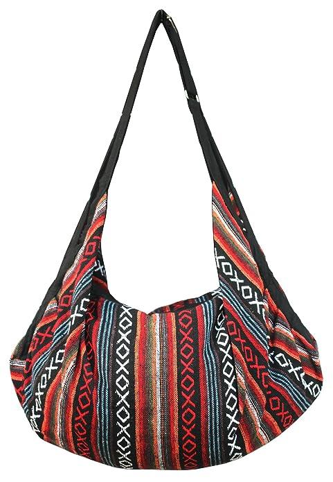 f16f28bdd6e4 Tribal Hmong Striped Ethnic Cotton Boho Sling Shoulder Asia Thai Pattern  Crossbody Bag Backpack Top Zip