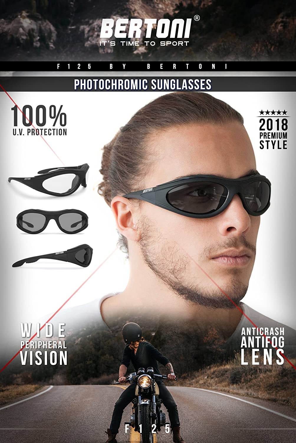2a856978a5f1 Amazon.com: Motorcycle Padded Glasses Photochromic Antifog Anticrash Lens -  Windproof insert - by Bertoni Italy F125A1 Motorbike Riding Sunglasses: ...