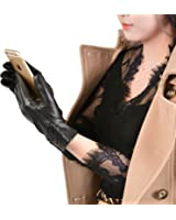 GSG Black Friday Deals Womens Trendy Pleated Touchscreen Gloves Spain Nappa Winter Warm Driving Gloves Leather Wool Or Faux Fur Lined Nice Birthday Gifts