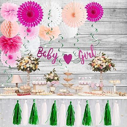 Amazon.com: Kit de decoración de baby shower para niña, 31 ...