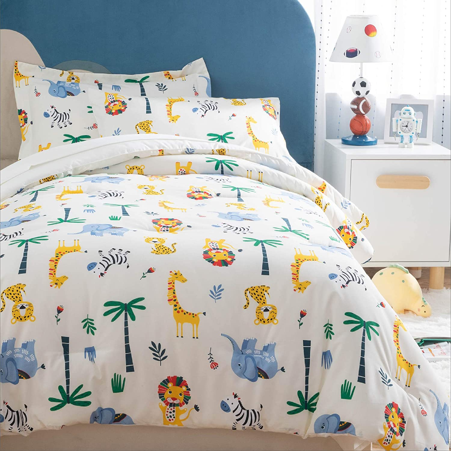 Easy Care Super Soft Microfiber Comforter and Sheets Set Dinosaur Bedding 5 Pieces Bed in a Bag Blue,Twin Bedsure Kids Twin Bedding Sets for Boys