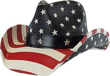 ac03b3b4aea57 USA Shapeable Brim Cowboy Hat w  Vegan Leather Stars   Stripes Band