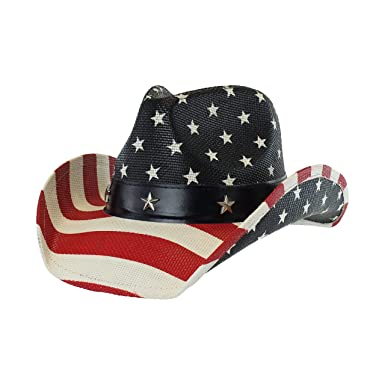 5b4af167b47f7 Image Unavailable. Image not available for. Color  USA Shapeable Brim  Cowboy Hat w  Vegan Leather Stars   Stripes Band ...