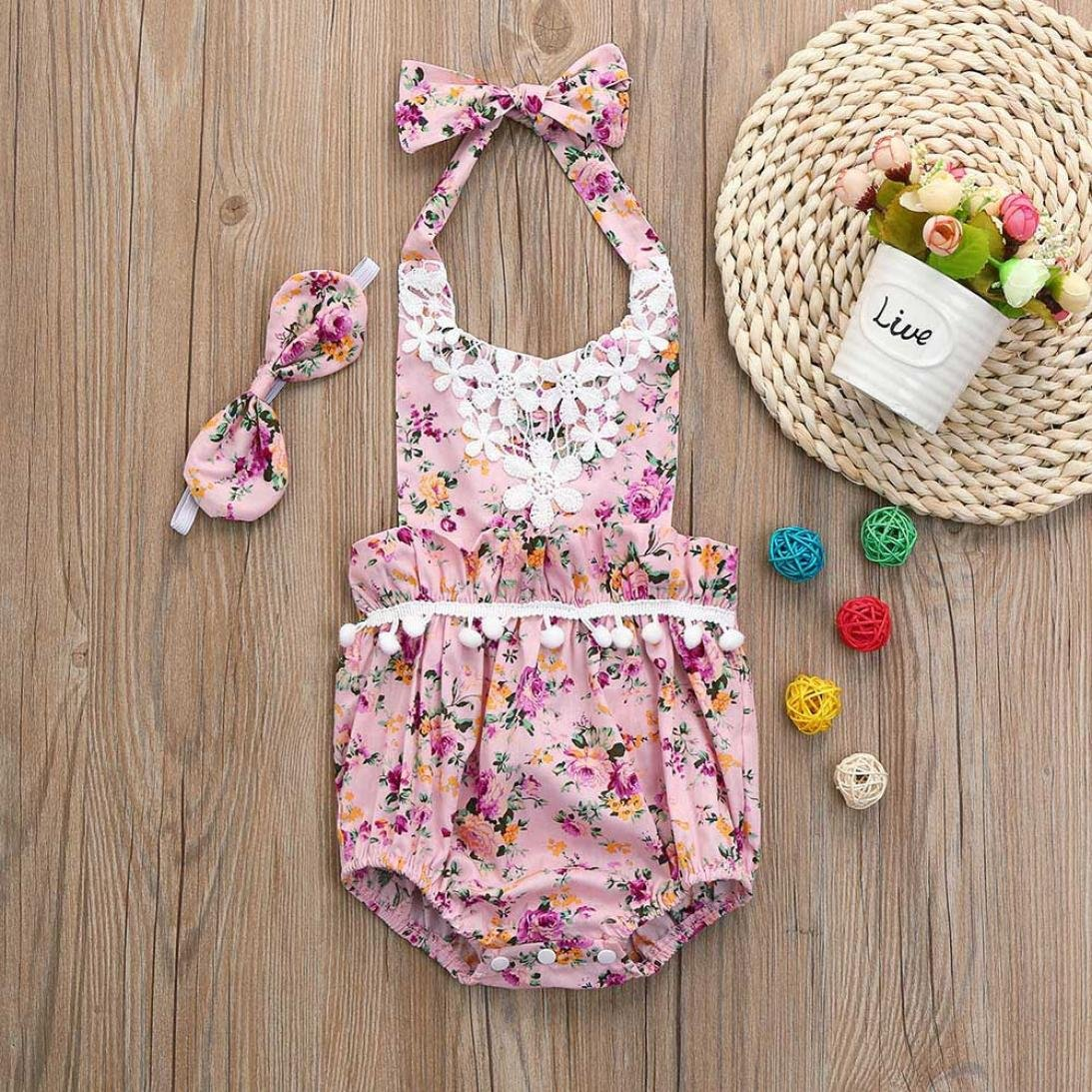 492758897f7 Amazon.com  FEITONG 2018 New Belt Cute Baby Rompers Summer Ruffled Floral  Vest Sleeveless Backless Romper  Baby