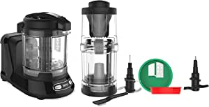 Ninja Food Processor with 400-Watt Base, 32-Ounce Precision Processor Bowl and Spiralizer for Chopping, Mixing, Pureeing, and Dough (NN310), Black