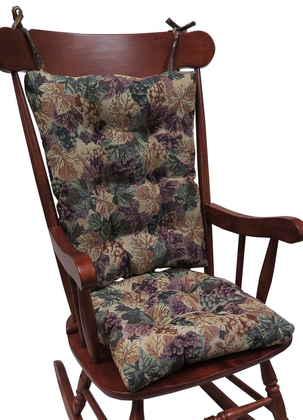 Klear Vu The Gripper Non-Slip Cabernet Tapestry Jumbo Rocking Chair Cushions