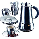 IMUSA USA B120-22069SET Stainless Steel Espresso Set with Stovetop Coffeemaker, Cups and Saucers 9-Piece Silver
