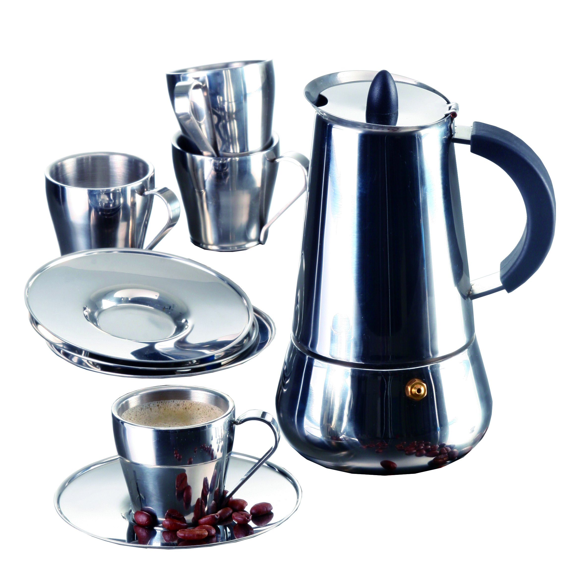 IMUSA USA B120-22069SET Stainless Steel Espresso Set with Stovetop Coffeemaker, Cups and Saucers 9-Piece Silver by Imusa