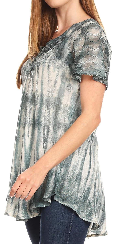 Sakkas Donna kvinnor casual spets kort ärm slips färgad korsett lös topp blus 19214-grå