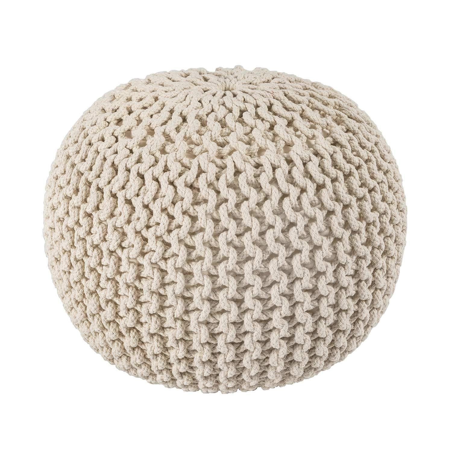 Artisans Of India Hand Knitted Cable Style Dori Pouf - Blue - Floor Ottoman - 100% Cotton Braid Cord - Handmade & Hand stitched - Truly one of a kind seating - 20 Dia x 14 High